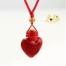 Collier diffuseur de parfum ou d'huile essentielle «Coeur» flacon en verre de Murano