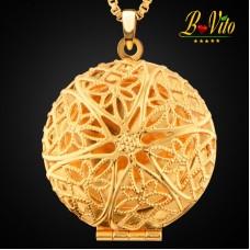 Collier diffuseur de parfum ou d'huile essentielle médaillon rond «Fleur», plaqué or
