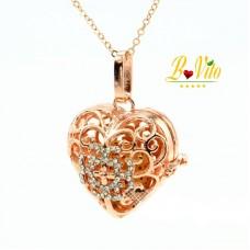 Collier diffuseur de parfum ou d'huile essentielle essentielle « coeur » avec strass et pierre ponce de lave