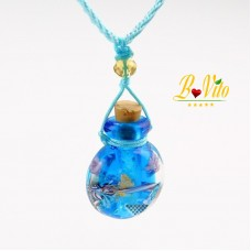 Collier diffuseur de parfum ou d'huile essentielle «Gourde» flacon en verre de Murano