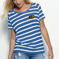 T-shirt Bio marinière, manches courtes pour femme