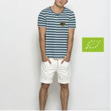 T-shirt Bio marinière, manches courtes pour homme, unisexe
