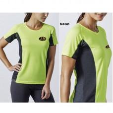 T-shirt bicolore respirant, manches courtes pour femme