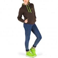 Sweat à capuche, bicolore, manches longues demi- gant pour femme