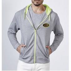 Sweat de luxe à capuche pour homme, couleurs néon, manches longues, fermeture à glissière